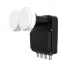 LNB Quad monoblock je konvertor, ktorý poskytuje príjem z dvoch družíc pre štyri satelitné prijímače.  Má prepínač DiSEqC.  Nízke šumové číslo 0,2 dB.